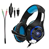 Gaming Headset for PS4|Tezewa Xbox One Gaming Headset|PC Gaming Headset|Stereo PS4 Headphones with Mic|LED Gaming Headphones With Microphone for Xbox One PSP Netendo DS PC Tablet