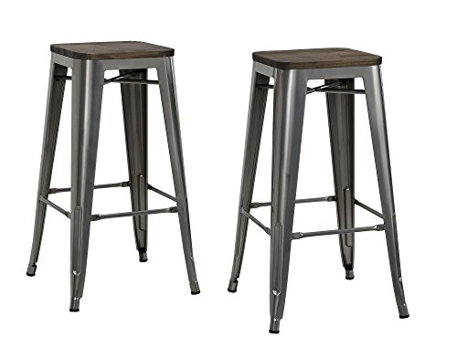 Dhp Fusion Metal Backless Bar Stool With Wood Seat Set Of
