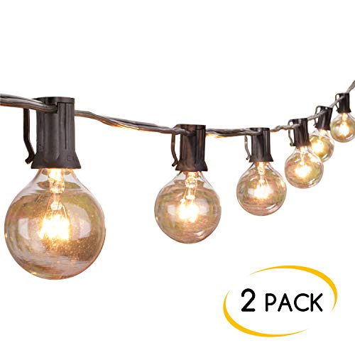 2-Pack 25Ft Outdoor Patio String Lights with 25 Clear Globe G40 Bulbs, UL Certified for Porch Backyard Deck Bistro Gazebos Pergolas Balcony Wedding Market Cafe Party Decor, Black