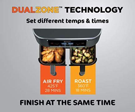 Ninja-DZ201-Foodi-6-in-1-2-Basket-Air-Fryer-with-DualZone-Technology-8-Quart-Capacity-and-a-Dark-Grey-Stainless-Finish
