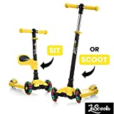 Lascoota 2-in-1 Kick Scooter with Removable Seat Great for Kids & Toddlers Girls or Boys - Adjustable Height w/Extra-Wide Deck PU Flashing Wheels for Children from 2 to 14 Year-Old (Yellow)