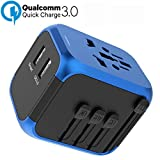 Quick Charge 3.0 Travel Adapter, All in one Universal Travel Adapter,International Travel Adapter QC 3.0, World Travel Plug Wall Charger Adapter Fast Charging for UK, EU, AU, Asia Over 190 Countries