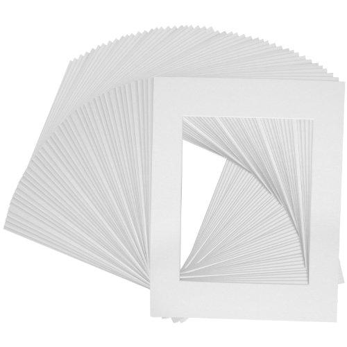 US Art Supply Art Mats Brand Premier Acid-Free Pre-Cut 5x7 White Picture Mat Matte Face Frames. Includes a Pack of 50 White Core Bevel Cut Matte Frames for 4x6 Photos