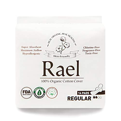Rael Certified Organic Cotton Menstrual Regular Pads, Ultra Thin Natural Sanitary Napkins with Wi…