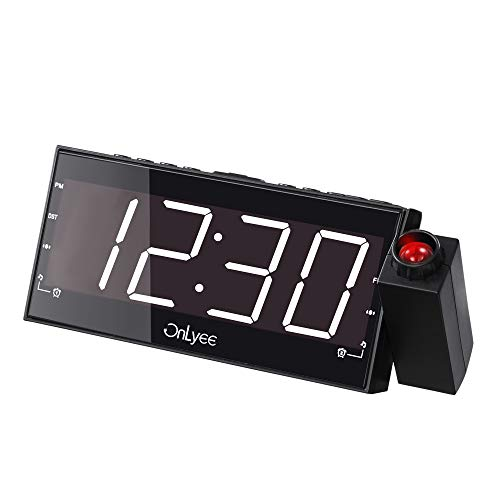 """OnLyee Projection Clock with FM Radio, 7"""" LED Display, Wall Ceiling Clock, Nap/Sleep Timer, 3 Dimmer, Dual Alarm and Dual USB Ports for Wall,Travel, Bedrooms, Ceiling, Kitchen, Desk, Shelf"""