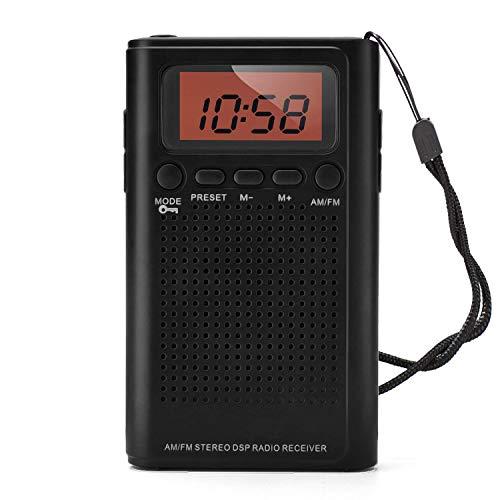 Horologe AM FM Pocket Radio, Portable Alarm Clock Radio with Time, Alarm, Radio, Digital Display,Stereo Mode and Including Battery