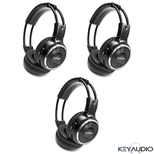 3 Pack of Two Channel Folding Adjustable Universal Rear Entertainment System Infrared Headphones with 3 48' 3.5mm Auxiliary Cords Wireless IR DVD Player Head Phones Car TV Video Audio Listening