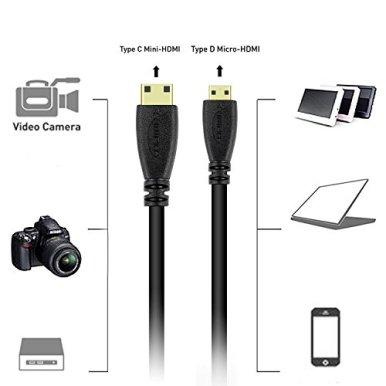 BronaGrand-Micro-HDMI-Male-Type-D-to-Type-C-Mini-HDMI-Male-Connector-Adapter-Cable-Cord-Black