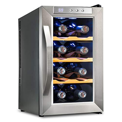 Ivation 8 Bottle Thermoelectric Wine Cooler/Chiller Counter Top Red & White Wine Cellar w/Digital Temperature, Freestanding Refrigerator Glass Door Quiet Operation Fridge