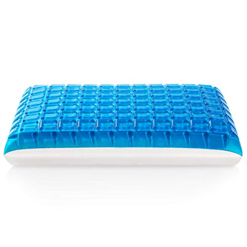 MoMA Gel Memory Foam Pillow - Reversible Cool Gel Pillow - Standard Sized Cooling Bed Pillow - Luxury Hypoallergenic Memory Pillow Neck Pain Side Sleeper - Deluxe Breathable Thick Gel Pillow