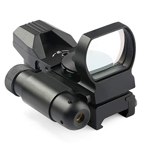 Feyachi Reflex Sight - 4 Reticle Red & Green Dot Sight Optics with Integrated Red Laser Sight, 20mm Rail