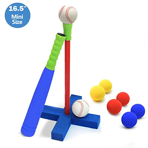 CELEMOON [Mini Size] Upgraded 16.5 inch Kids Foam T Ball Baseball Set Toy for Toddlers, 8 Different Colored Balls Included + Carry/Organize Bag, for Kids Over 1 Years Old