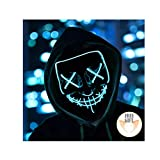 Halloween Mask Light up Mask Cosplay LED Mask Frightening Purge Mask for Festival Cosplay Halloween Parties Costume (Ice Blue)