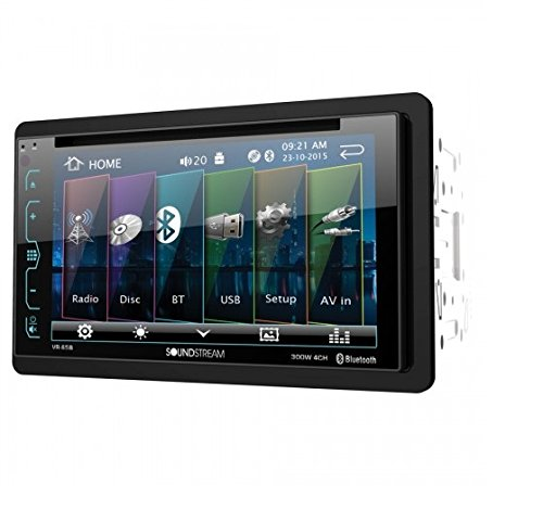 Soundstream VR-65B Double-DIN Bluetooth DVD/CD/AM/FM in-Dash Car Stereo with 6.2' Smart Sense Screen