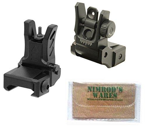 UTG Low Profile Flip-Up Front & Rear Sights Set MNT-755 MNT-955 + Nimrod's Wares Microfiber Cloth