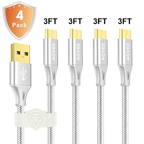 3A Current Fast Heavy Duty Micro USB Cable [4 Pack 3ft], Metal Shell Nylon Braided Durable Charger Cord, Agvee Android Charging Cable for Samsung Galaxy S7 S6 S5 J7 [Safe, in-case] Silver