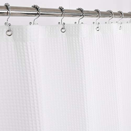 Barossa Design Fabric Shower Curtain Cotton Blend 75 inch Long - Honeycomb Waffle Weave, Hotel Luxury, Heavy-Weight, Spa, Washable, White, 72x75