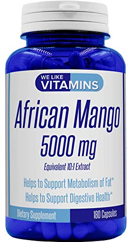 African Mango 5000mg Equivalent 10:1 Extract 180 Capsules - 6 Month Supply of African Mango Capsules - Supports Metabolism of Fat and Digestive Health
