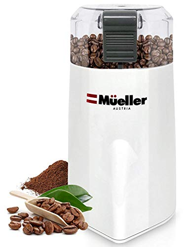 Mueller Austria HyperGrind Precision Electric Coffee Grinder Mill with Large Grinding Capacity and HD Motor also for Spices, Herbs, Nuts, Grains and More White