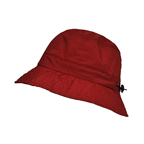 TOUTACOO, Adjustable Waterproof Bucket Rain Hat in Nylon, Easy to fold Red