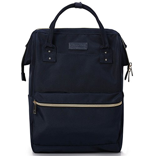 Lily & Drew Casual Travel Daypack School Backpack for Men Women and 14 Inch Laptop Computer, with Wide Doctor Style Top Opening (V4 Dark Blue Medium)