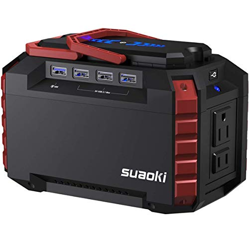 SUAOKI Portable Power Station, 150Wh Camping Generator Lithium Power Supply with Dual 110V AC Outlet, 4 DC Ports, 4 USB Ports, LED Flashlights for Road Trip Camping Travel Emergency Backup