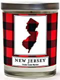 New Jersey Buffalo Plaid Scented Soy Candle | Fraser Fir, Pine Needle, Cedarwood | 10 Oz. Glass Jar Candle | Made in The USA | Decorative Candles | Going Away Gifts for Friends | State Candles