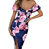 ZSBAYU Women's Off Shoulder Sale Floral Rose Print Ruffles Beach Slim Dress Sleeveless Split V-Neck Swing Short Mini Dress(Navy,XXL)