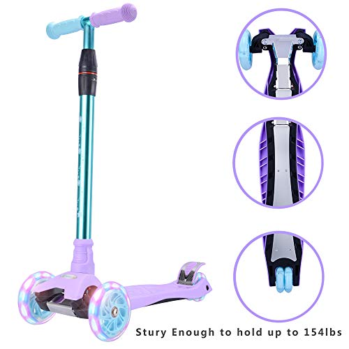 WonderView Kick Scooter Kids 3 Wheel Scooter, 4 Height Adjustable Pu Wheels Extra Wide Deck Best Gifts Kids, Boys Girls, Purple