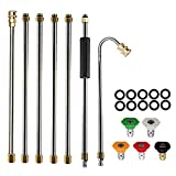 AgiiMan Gutter Cleaning Tool for Pressure Washer - Roof Cleaner Lance Nozzle - 4000 psi 5 Tips, Window Washing Accessories, Power Washer Extension Wands