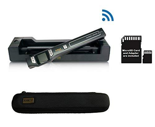 VuPoint ST47 Magic Wand Wireless Portable Scanner with Wi-Fi, Auto-Feed Docking Station, 8GB MicroSD Card, Protective Carrying Case, JPEG/PDF, Color/Mono, 1.5 LCD, 1050 DPI (Black)