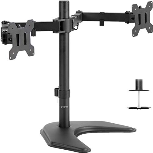 VIVO Dual LED LCD Monitor Free-Standing Desk Stand for Two (2) Screens up to 27' | Heavy-Duty Fully Adjustable Arms with Optional Bolt-Through Grommet Mount (STAND-V002F)