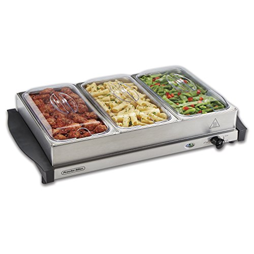 Proctor Silex 34300 Server & Food Buffets Food Warmer for Parties, Three 2.2 Quart Stainless Steel Chafing Dishes, Adjustable Heat