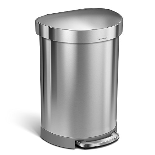 simplehuman 60 Litre / 16 Gallon Semi-Round Kitchen Step Trash Can with Liner Rim Brushed Stainless Steel, 60 L (16 Gal),