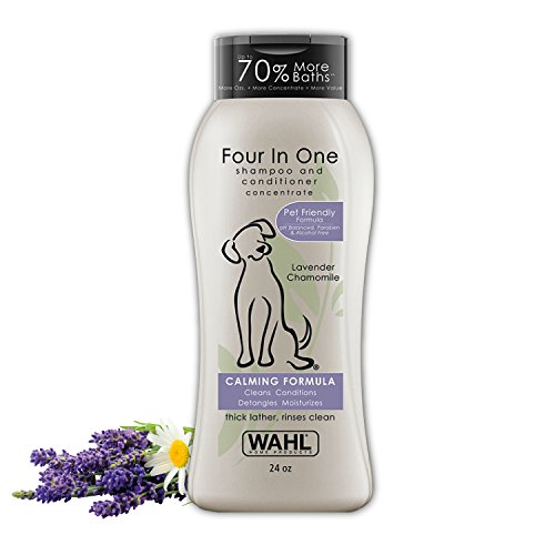 Wahl 4-in-1 Calming Pet Shampoo - Cleans, Conditions, Detangles & Moisturizes with Lavender Chamomile & 100% Natural Ingredients - 24 Oz