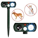 PET CAREE Ultrasonic Dog Repellent, Solar Powered and Waterproof PIR Sensor Repeller for Cats, Dogs, Birds and Skunks and More (Green)