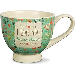 """I Love You Grandma"" Floral Soup Bowl Mug, Teal, 17 oz"