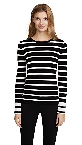 71%2B1SAV ppL Theory striped dress in Prosecco rib-knit. Crew neckline. Long sleeves. Fitted silhouette. Pullover style.