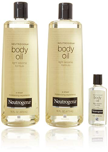 2 Pack of Neutrogena Body Oil Light Sesame Formula, 2-16 fl. oz bottles, Total of 32 fl. oz.