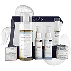 Anti Aging All Skin Types 7 piece Set with Eye Cream, Face Cleanser, Vitamin C Moisturizer, Hyaluronic Serum, Collagen Peel Off Mask and Travel Cleanser By Alana Mitchell Exfoliate Cleanse Moisturize