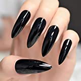 Black Extremely Long Stiletto Nails 24 Full Set of Nails UV Gel Finished Press on Nail Halloween Witch Claw Fancy Dress Nails