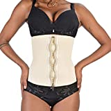ASHLONE Latex Waist Trainer Corset Underbust Sport Cincher Womens Workout Body Shaper, Beige, S