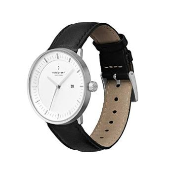 Nordgreen Unisex Philosopher Scandinavian Analog Watch in Silver 36mm with Black Leather Strap 10037