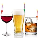 Wish Clips Birthday Candles for Drinks | 15 Colored Candles and Clips | Happy Birthday Cake Candles with Holder | 21st Birthday Gifts for Her Him | Beer Cake Bottle Shot Glass Wine Cup Candle Holder