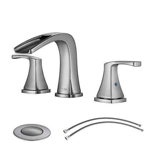PARLOS Waterfall Widespread Bathroom Faucet Double Handles with Pop Up Drain & cUPC Faucet Supply Lines, Brushed Nickel, Doris 14070