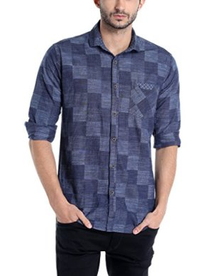 Campus Sutra Men's Polo Neck Full Sleeve Checkered Casual Cotton Shirt(AZ17SHRT_BGCHK1_M_PLN_DNBU_AZ_L)