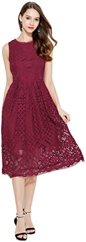 VEIISAR Womens Fashion Sleeveless Lace Fit Flare Elegant Cocktail Party Dress 3