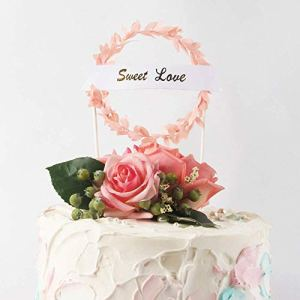 Uni-Fine 14PCS Wedding Cake Topper Supplies, Sweet Love Romantic Wreath Wedding Party Cake Decoration,Cloud Balloon with Leaves Cake Topper for Valentine's Day Wedding Anniversary Birthday (Pink) 41qV39dkuxL