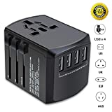Travel Adapter, Universal Plug Adapter for Worldwide travel, International Power Adapter, Plug Converter with 4 USB Ports, All in One Wall Charger AC Socket for European UK AUS ASIA Cell Phone Laptop
