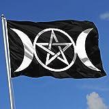Triple Moon Pentacle Pagan 3x5 Feet Flag for House